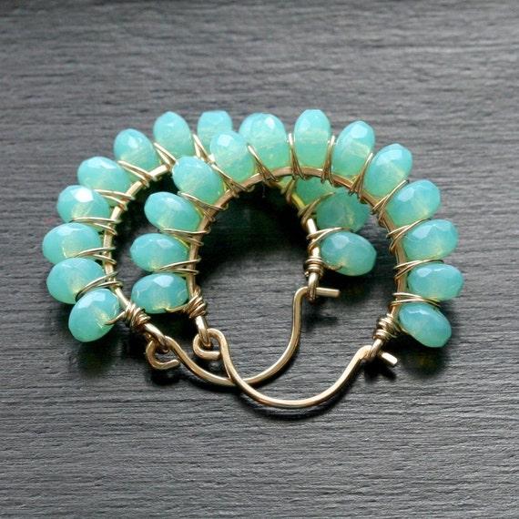 Handmade gold earrings, sea foam green, Czech glass, wire wrapped hoops, beaded, 14k gold filled, Mimi Michele Jewelry
