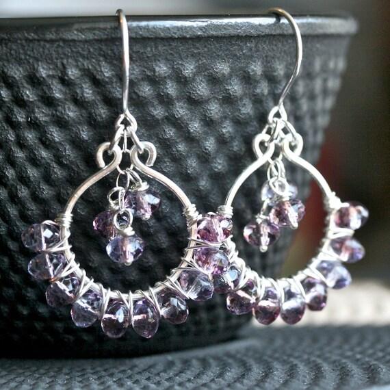 Handmade sterling silver earrings, purple dangle earrings, lavender, Czech glass, wire wrapped, dangle hoops