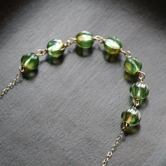 Green Czech glass bead necklace, wire wrapped necklace, bead necklace, 14k gold filled, adjustable