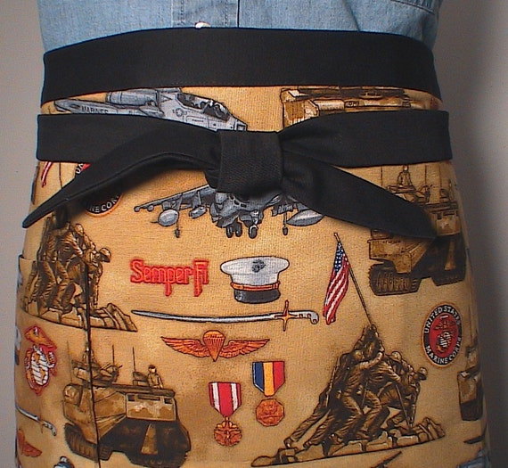 Clearance-Mens Womens Apron Semper Fi  half Apron Unisex Marines Military Ready to ship