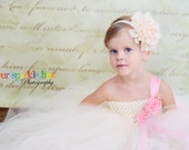 Tutu Dress in Ivory/White and baby pink wedding flower girl nb 12m 2t 3t 4t