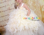 SHOWSTOPPING ivory gold feather dress - very limited quantities available