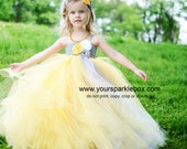 Tutu dress in mustard and gray (yelllow and silver)  white wedding flower girl