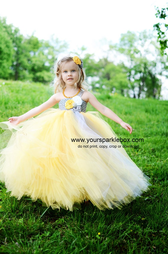 Custom for Jennifer Tutu dress in mustard and gray (yelllow and silver)  white wedding flower girl