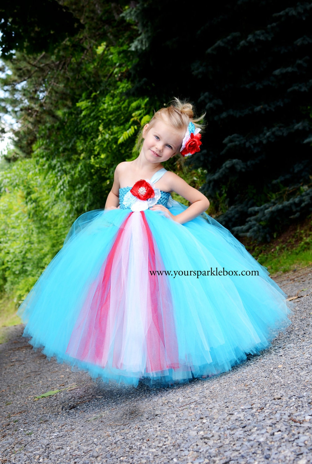 Tiffany Blue And Red Flower Girl Dresses Wedding Dress Designers
