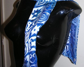 silk blue devore scarf