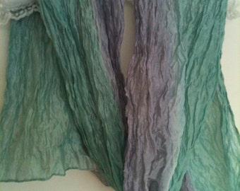 pastel green & mauve silk scarf