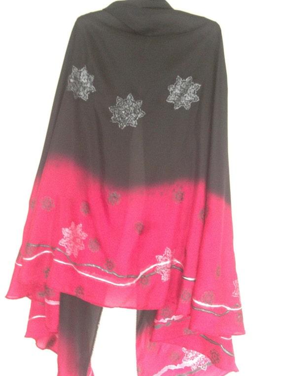 red pink black belly dance silk veil