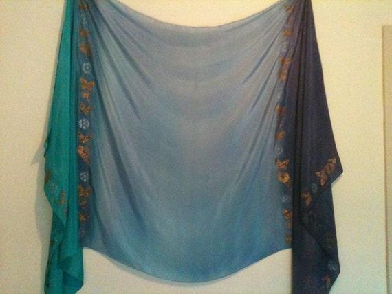 Blue Purple Green hand dyed silk bellydance veil or yardarge