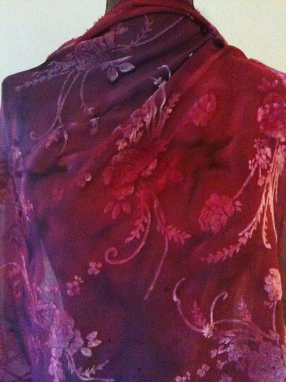Purple Pink Red Remnant hand dyed silk devore/burnout