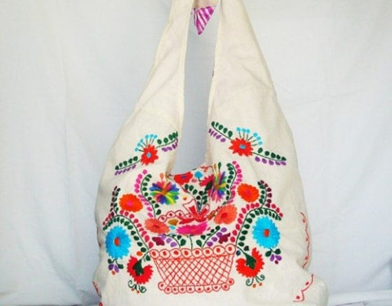 Mexican Embroidered  Adjustable Strap Purse
