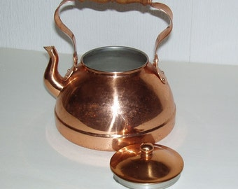 Vintage Decor Copper and wood handle tea pot