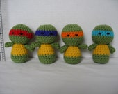Handmade Crochet Ninja Turtles - Set of 4  -Free Shipping