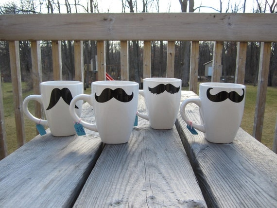 Set of 4 Custom Mustache Mugs Disguise Set Stocking Stuffer - Coffee, Tea, Latte
