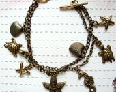 Antique Bronze Sea Creatures Charm Bracelet