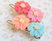 Daisy Flower Barrettes, Girls Flower Pins, Children Hair Accessories, colorful