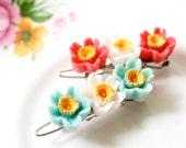 Tiny Flower Barrettes