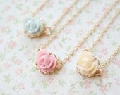 Pastel Mini Rose Necklace- Gold or Silver