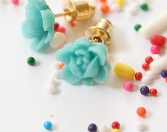 Tiny Aqua Rose Earrings
