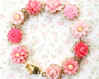 Girls Pink Rose and Daisy Bracelet, Romantic, Shabby Chic, Pink