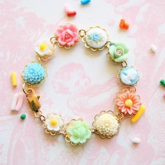 Children Pink Rose Bracelet
