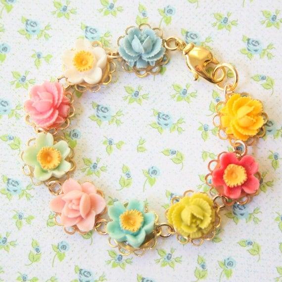 Flower Girl Bracelet, Flower bracelet, gift for girls
