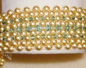 PATTERN It's an Age Old Question Right Angle Weave Pearl Cuff with crystals