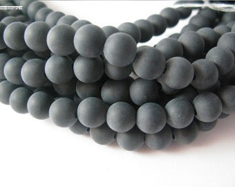 10mm large hole 8inch long matt onyx beads