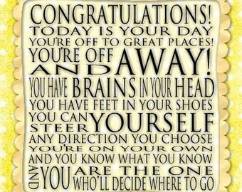 Congratulations Quote - Dr. Seuss Print Contemporary Cafe Mount 6x6 Graduation Dot Dotty - yellow art block