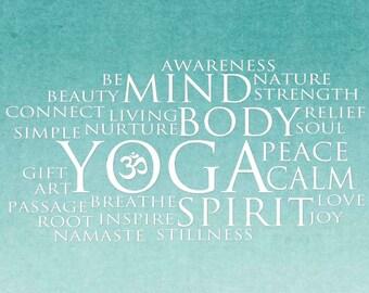 Yoga Mind Body Spirit Canvas - Word Art Print - 16x20 Motivational - Inspiration - peaceful