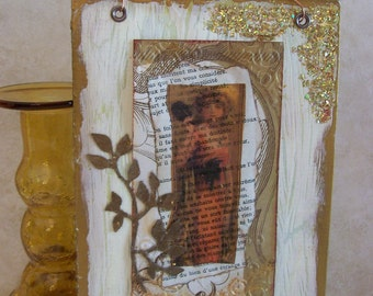 Mixed Media Collage Wall Art on Matt Board Distressed Shabby Style Layered Vintage Papers Amber Transparency