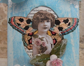 Miniature Mixed Media Collage Spring Vintage French Girl with Butterfly Wings in Shabby Cottage China Blue