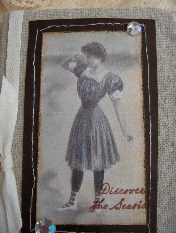 Miniature Altered Composition Notebook Covered with Fabric/Vintage Bathing Beauty Scetch in Natural Oatmeal