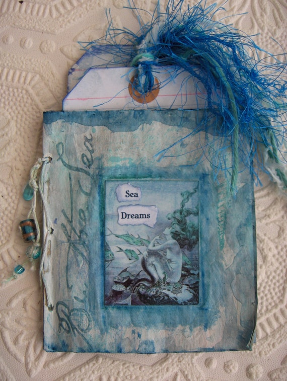 Hand Painted Pocket Mini Journal With Vintage Mermaids/Journal Pamphlet withTags in Ocean Sea Blues