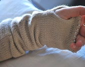 Long Camel Hair Fingerless Gloves - Arm Warmers with Pearl Trim