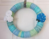 Seafoam Green and Blue Yarn Wreath With Felt Flowers Peony and Rosettes. Adorned with Pearls. 12 Inches