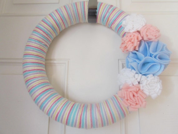 Striped Pink White Blue Purple Yellow Spring Yarn Wreath With Felt Flowers