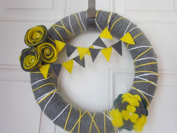 You Are My Sunshine Grey and Yellow Yarn Wreath With Peony Flower and Rosettes. Felt Gray and Yellow Bunting Banner 12 Inches