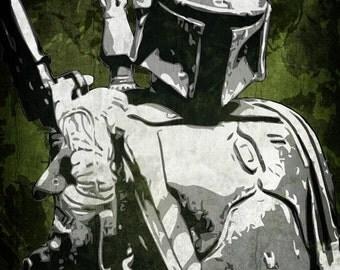 Star Wars Boba Fett Pop Art Print 5 x 7