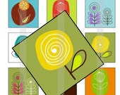 """Organic Flowers - one 4x6 inch digital sheet of 1"""" square images for glass tiles, pendant trays, magnets"""