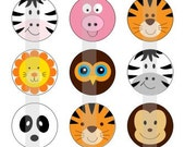 "Cute Animal Faces - one 4x6 inch digital sheet of 1"" round images for bottlecaps, magnets, glass tiles, pendants"