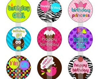 "Happy Birthday - one 4x6 inch digital sheet of 1"" round images for bottlecaps, magnets, glass tiles, pendants"