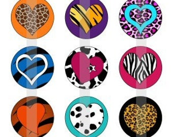 "Animal Print Hearts - one 4x6 inch digital sheet of 1"" round images for bottlecaps, magnets, glass tiles, pendants"