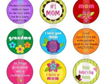"Happy Mothers Day - one 4x6 inch sheet of 1"" round images"