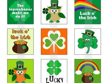 """Happy St. Patrick's Day - one 4x6 inch digital sheet of 1"""" square images for magnets, glass tiles, stickers etc."""