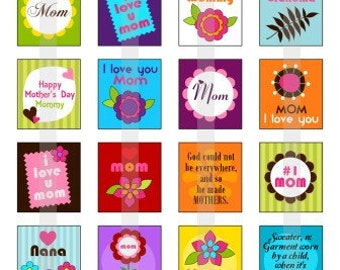 Happy Mothers Day - one 4x6 inch digital sheet of scrabble size (0.75 x 0.83 inches) images for scrabble tiles