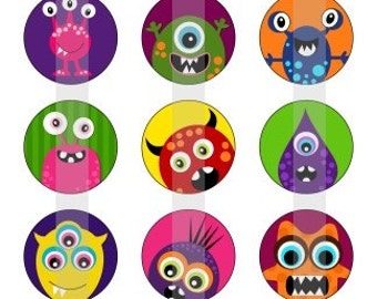 "Monsters 1 - one 4x6 inch digital sheet of 1"" round images for bottlecaps, magnets, glass tiles, pendants"
