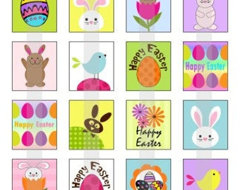 Happy Easter - one 4x6 inch digital sheet of scrabble size (0.75 x 0.83 inches) images for scrabble tiles