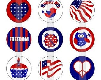 """Happy 4th of july- one 4x6 inch digital sheet of 1"""" round images for bottlecaps, magnets, glass tiles, pendants etc."""