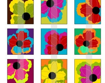"""Vibrant Flowers - one 4x6 inch digital sheet of 1"""" square images for magnets, glass tiles, stickers etc."""